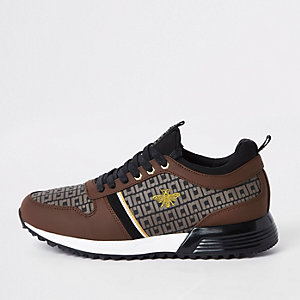 Brown monogram 'MCMLXXVI' lace-up trainers