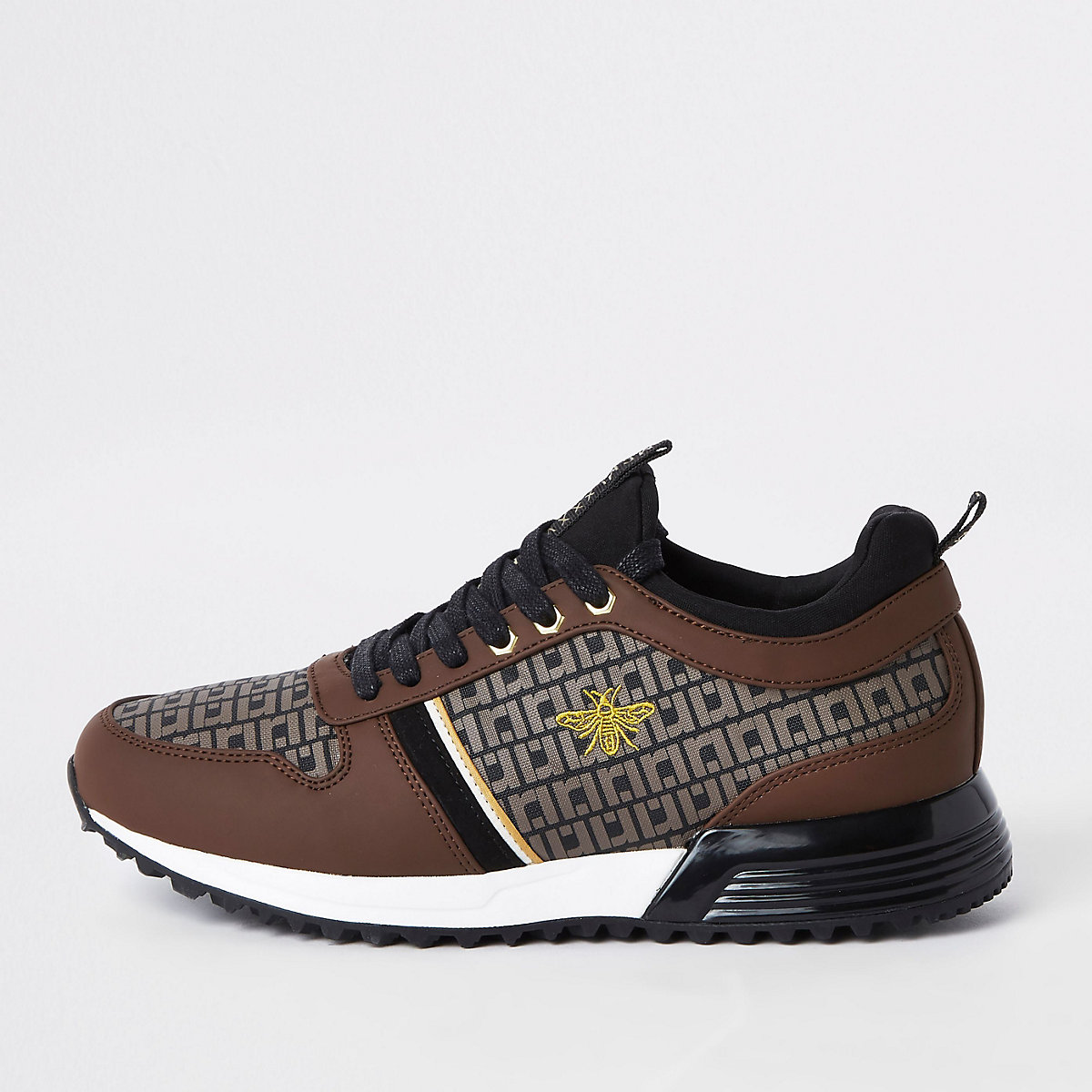 Brown monogram 'MCMLXXVI' lace-up sneakers