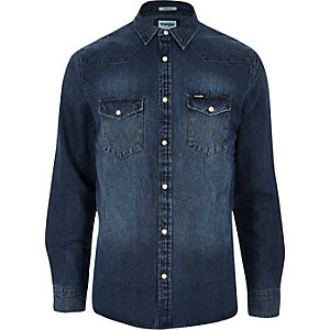 Wrangler - Blauw western denim overhemd