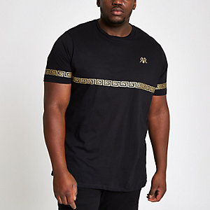 Big and Tall black gold foil slim fit T-shirt