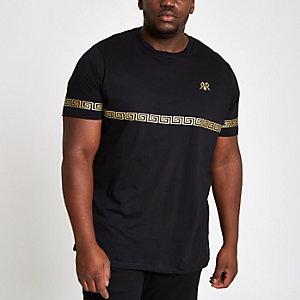 Big and Tall – T-shirt slim noir et doré métallisé