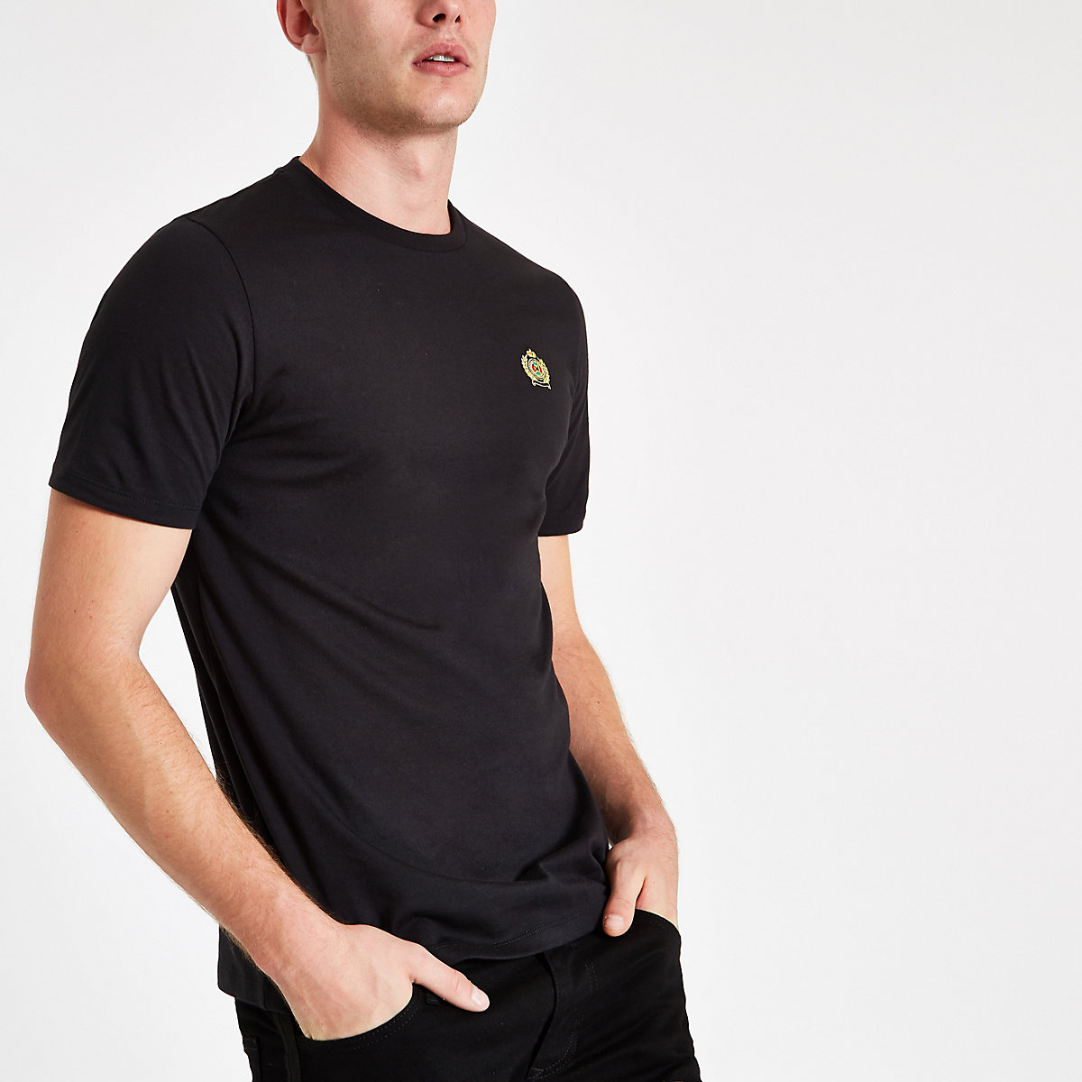 Black slim fit embroidered crew neck T-shirt