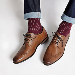 Tan leather lace-up brogue shoes