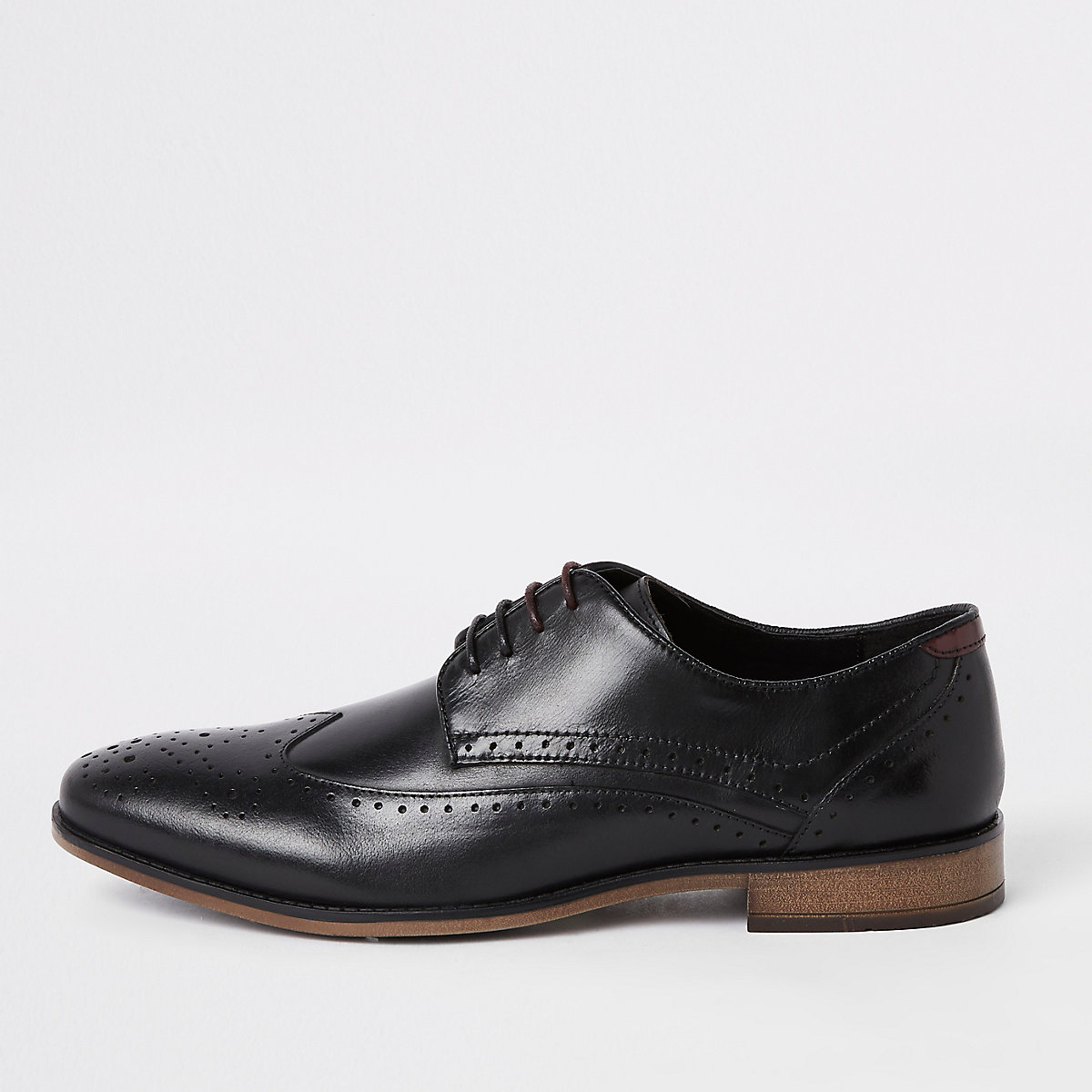 Black leather dual lace-up brogues