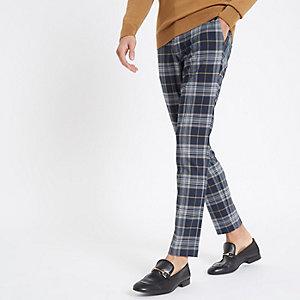 Marineblauwe geruite skinny nette broek