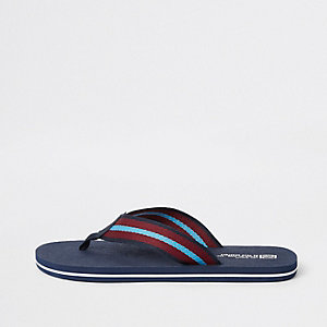 Navy stripe tape flip flops