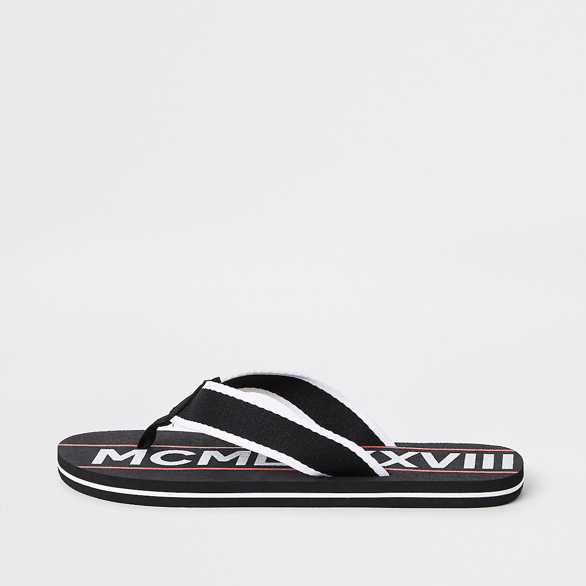 Black printed tape flip flops