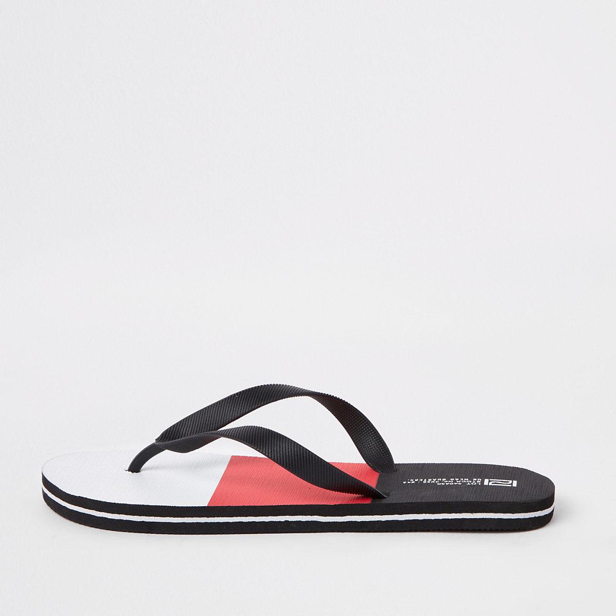 Red color block flip flops