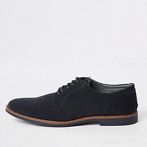 Marineblaue Derby-Schuhe zum Schnüren