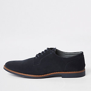 Chaussures derby à lacets bleu marine effet vieilli