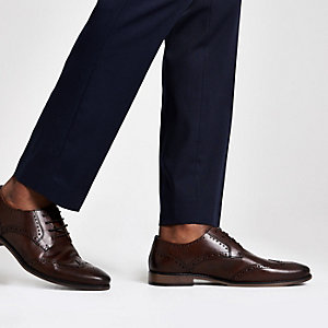 Dark brown leather lace-up brogue shoes