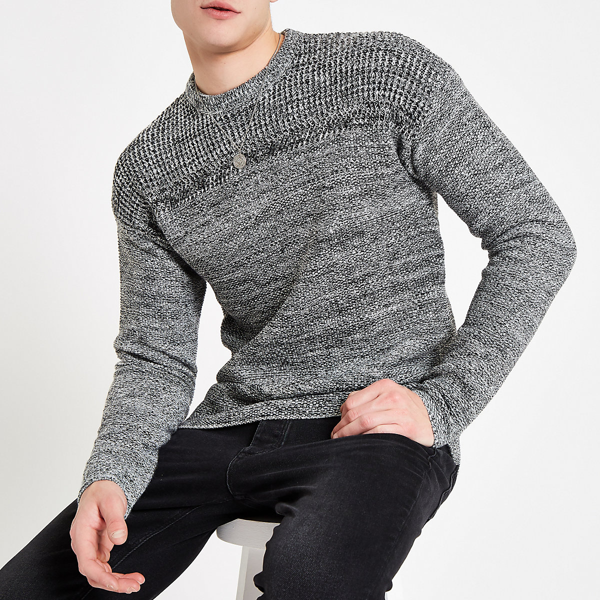 Only & Sons grey textured knit jumper