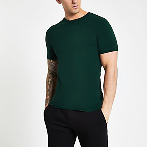 Grünes, kurzärmliges Muscle Fit T-Shirt