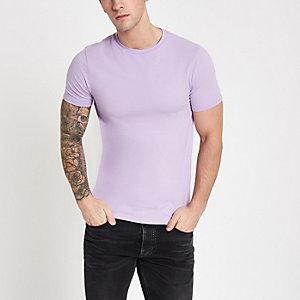 T-shirt violet ajusté à col ras du cou