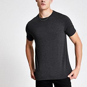 T-shirt ajusté gris foncé chiné à col ras-du-cou