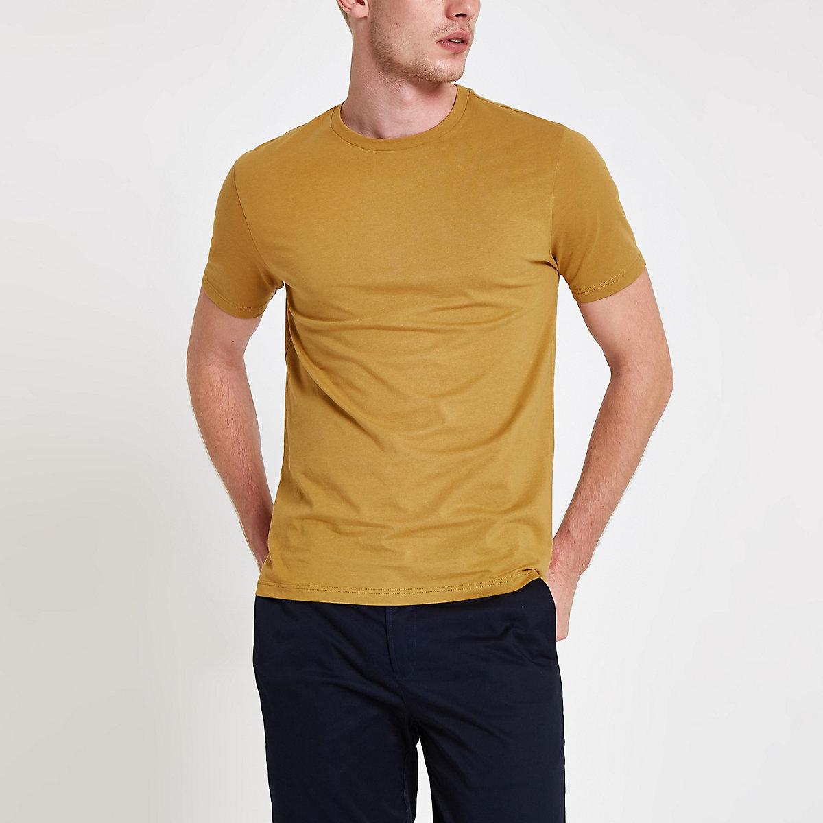 Yellow slim fit crew neck T-shirt
