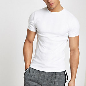 White ribbed muscle fit embroidered T-shirt