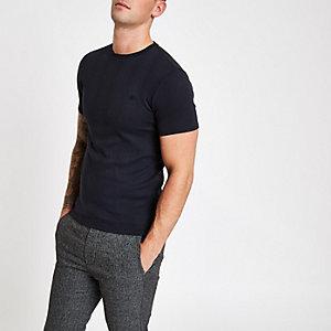 T-shirt ajusté côtelé bleu marine brodé
