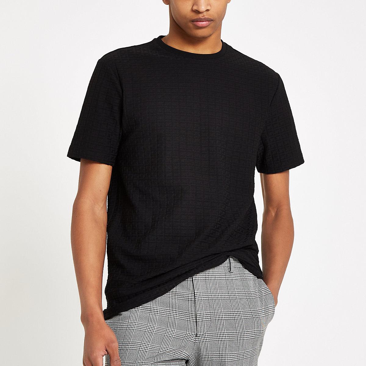 T-shirt motif jacquard RI noir