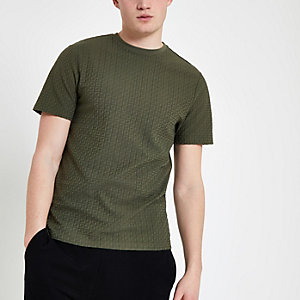 Khaki jacquard slim fit T-shirt