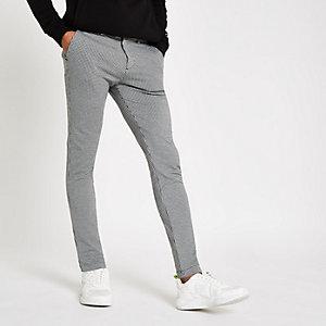 Pantalon super skinny stretch motif pied-de-poule gris