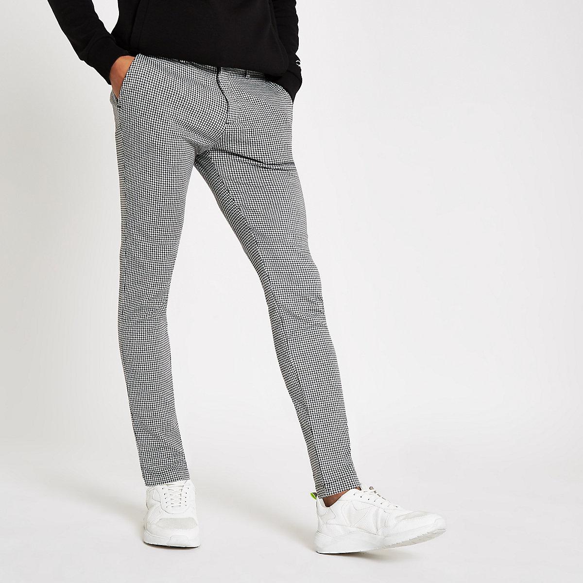 Grey houndstooth stretch super skinny pants