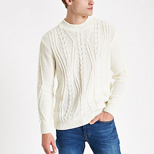 Ecru chunky cable knit crew neck sweater