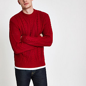 Red chunky knit cable knit sweater