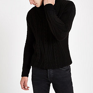 Black chunky cable knit roll neck sweater