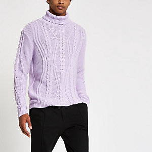 Lilac chunky cable knit roll neck sweater