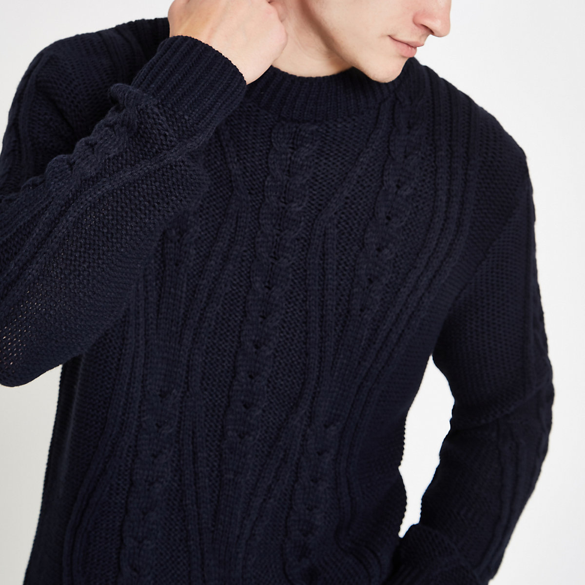 Navy cable knit crew neck sweater