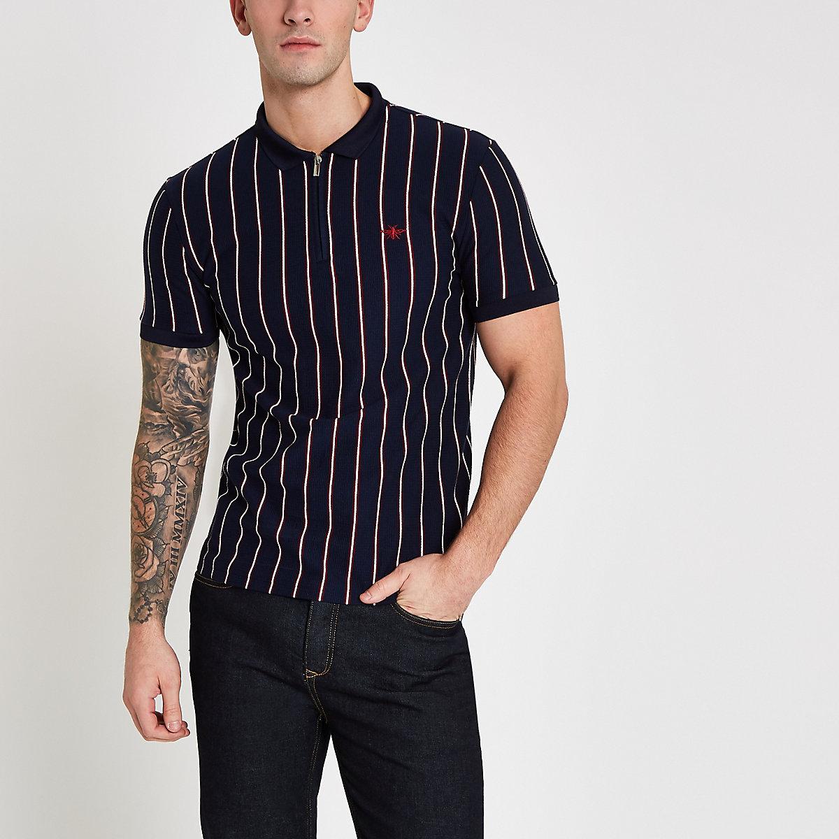 Navy stripe zip slim fit polo shirt
