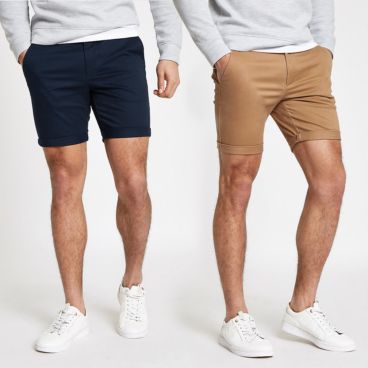 Brown and navy skinny chino shorts 2 pack