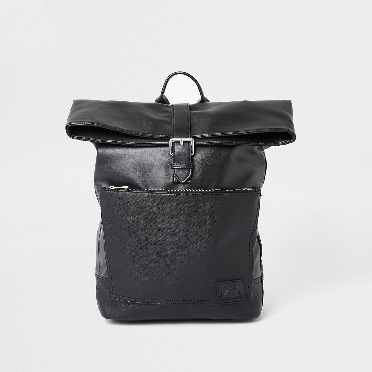Black roll top rucksack