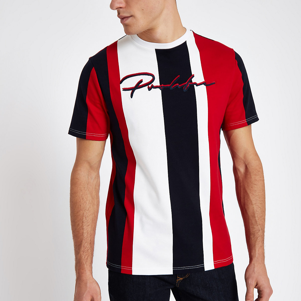 Red stripe 'Prolific' slim fit T-shirt