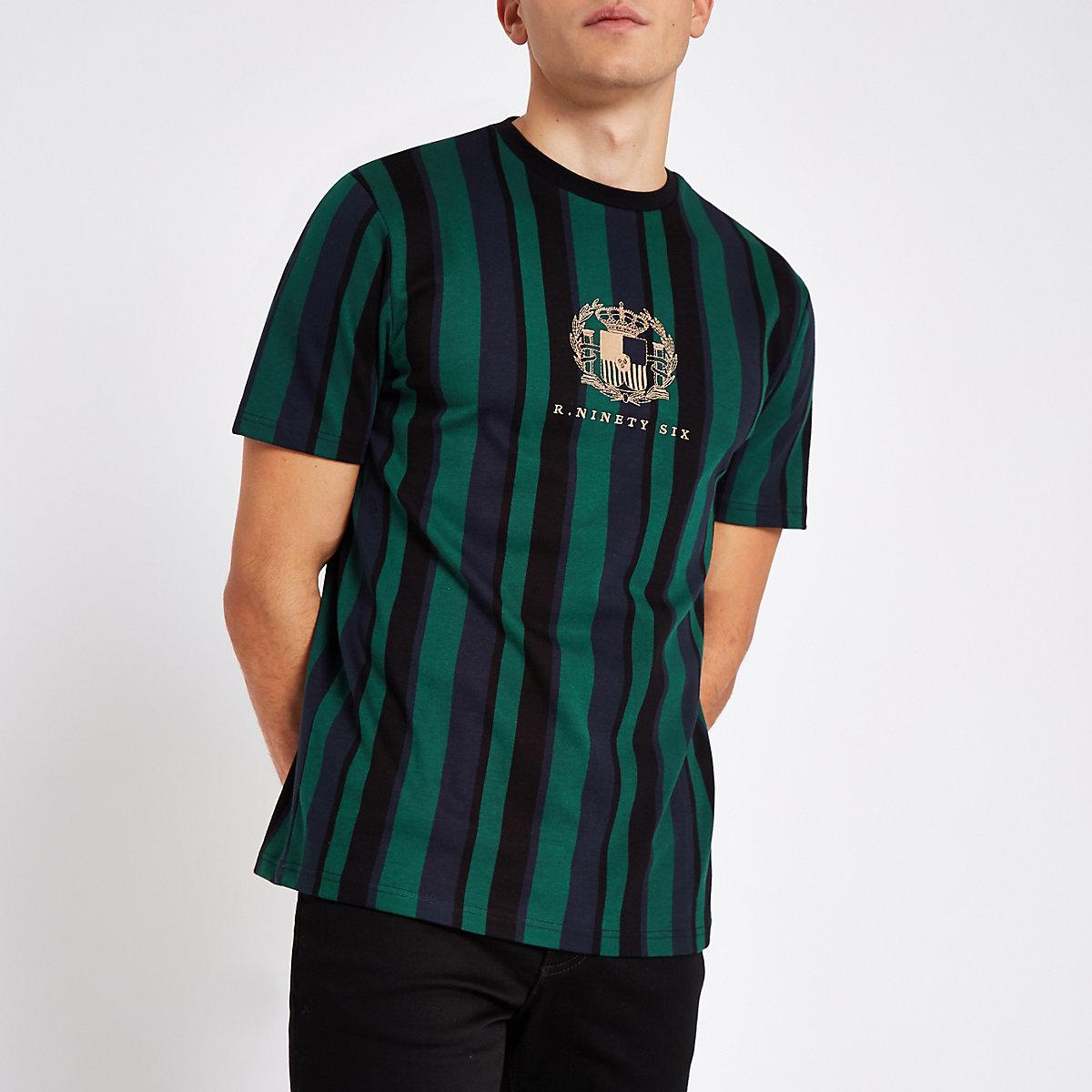 R96 green stripe slim fit T-shirt
