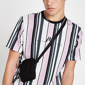Roze gestreept slim-fit T-shirt met 'Maison Riviera'-print