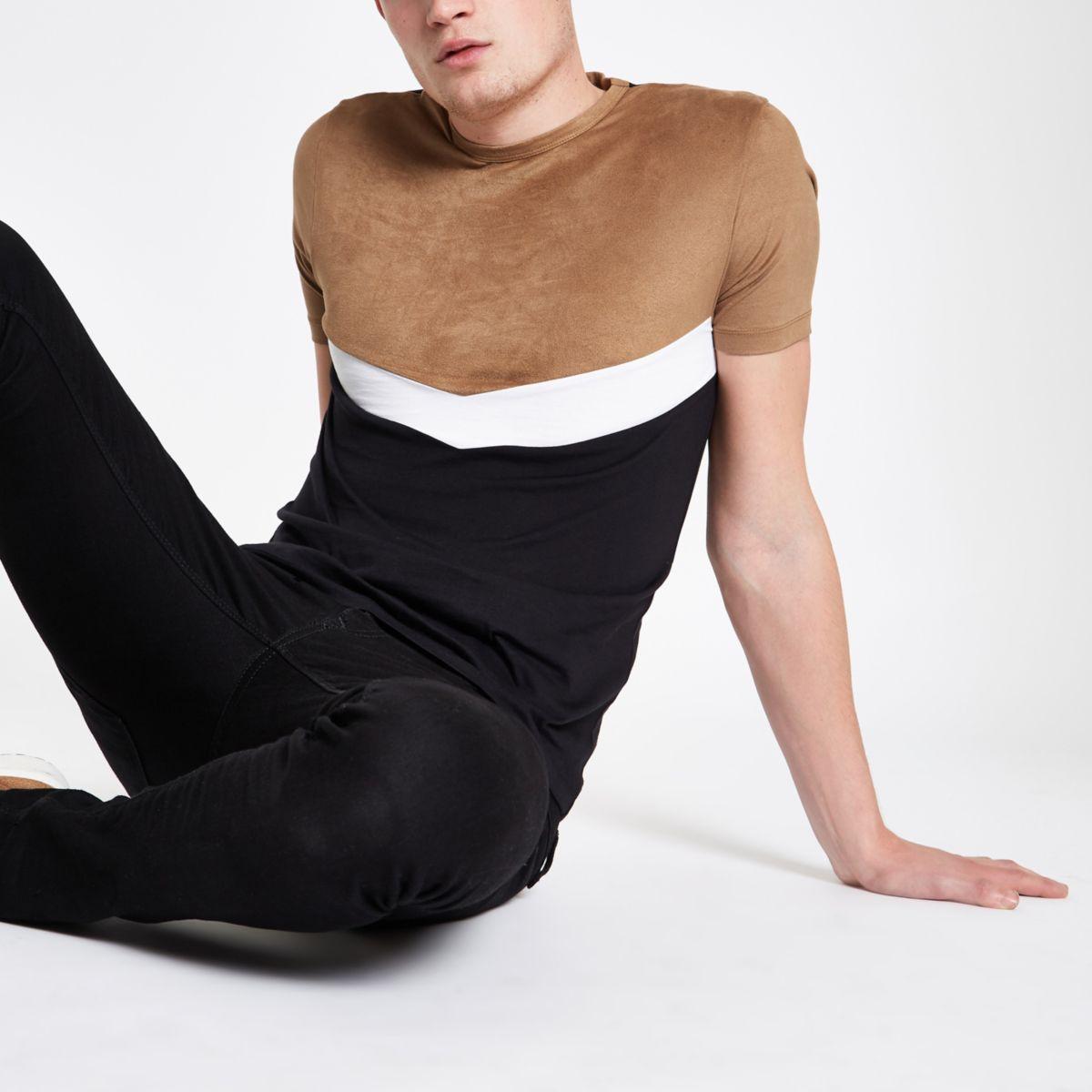 Brown slim fit chevron color block T-shirt
