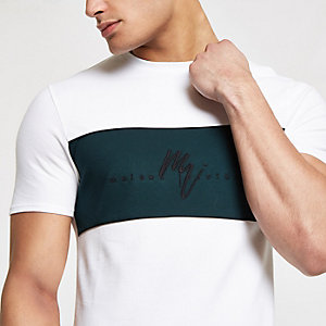 "Weißes Muscle Fit T-Shirt ""Maison riviera"""