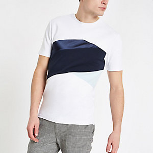 White chevron slim fit T-shirt