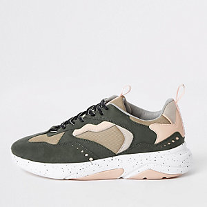 Khaki green camo 'MCMLXXVI' lace-up sneakers