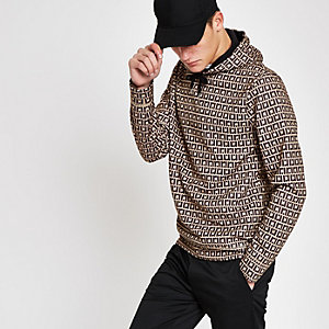 Sweat à capuche slim marron avec monogramme RI