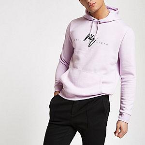 Lichtpaarse slim-fit hoodie met 'Maison Rviera'-print