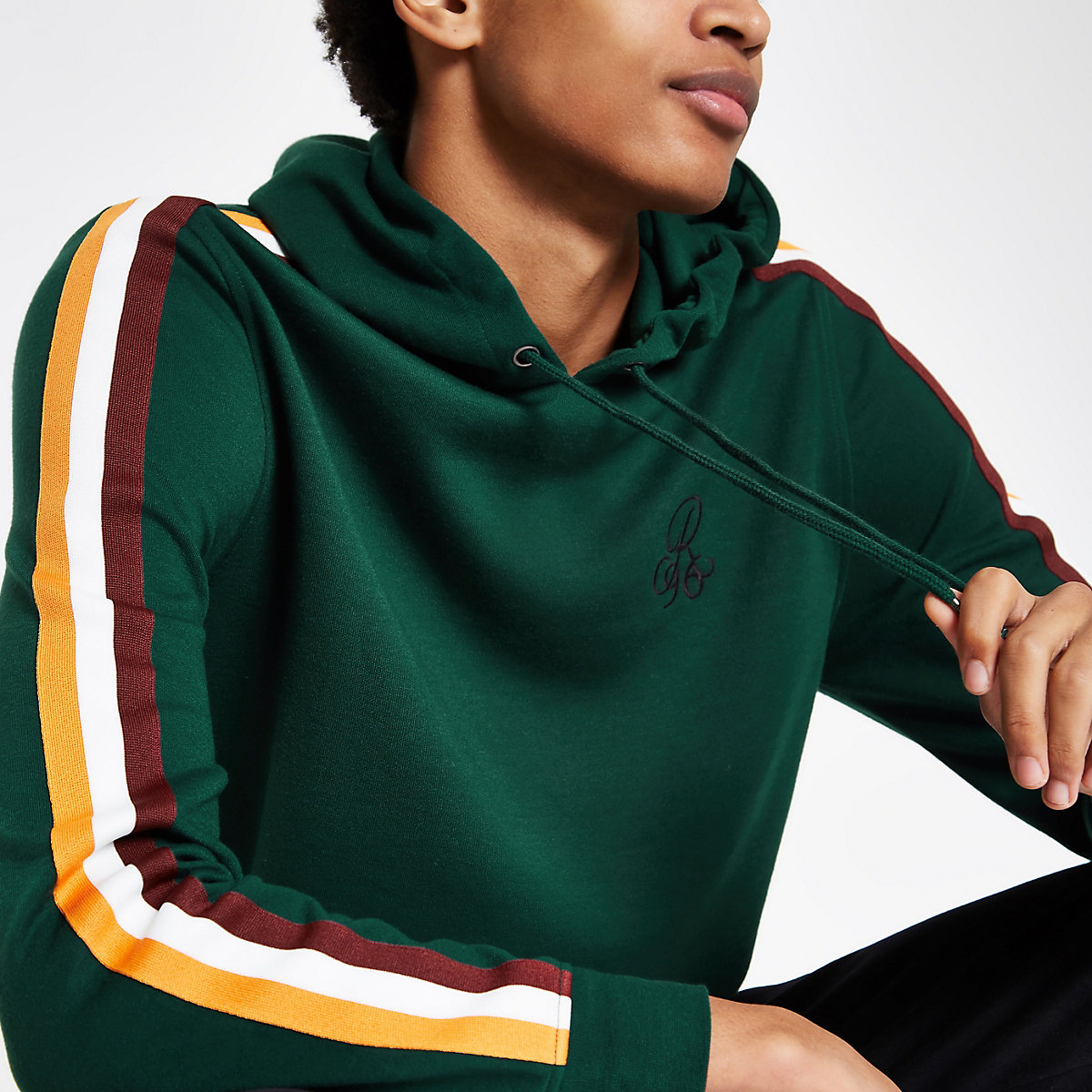 R96 green slim fit tape hoodie
