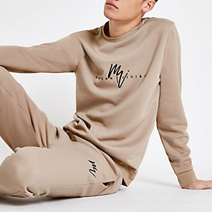 Kiezelkleurig slim-fit sweatshirt met 'Maison riviera'-print