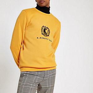 Geel slim-fit geborduurd sweatshirt