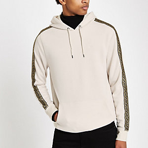 Stone slim fit tape side wasp hoodie