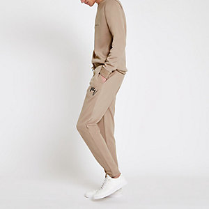Steingraue, elegante Slim Fit Jogginghose