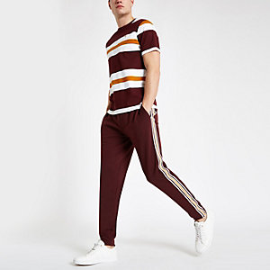 R96 burgundy slim fit smart jogger trousers