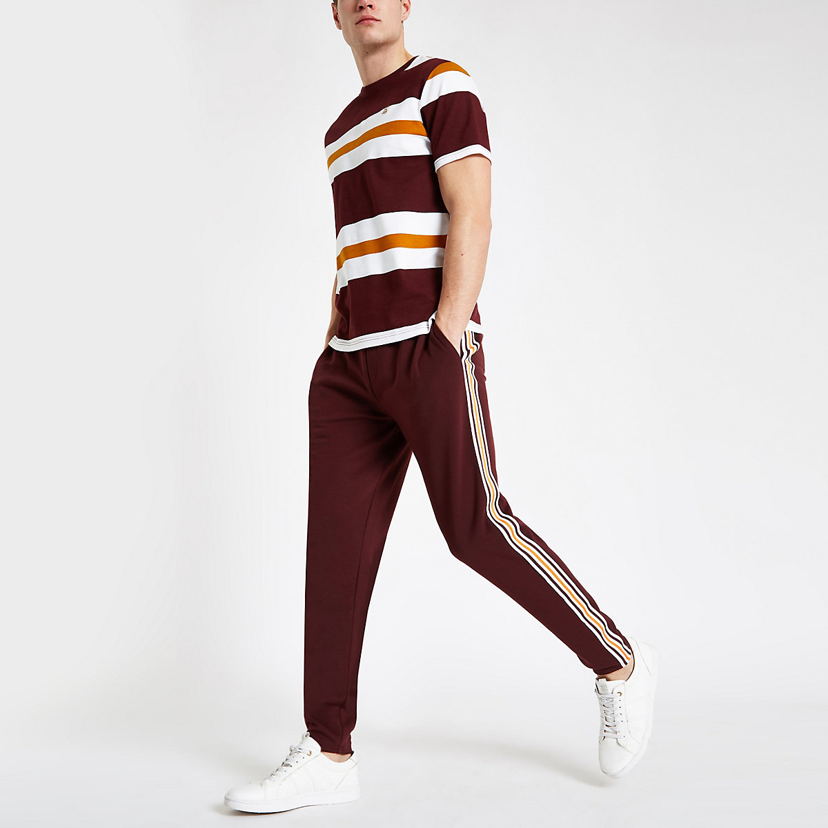 R96 burgundy slim fit smart jogger trousers